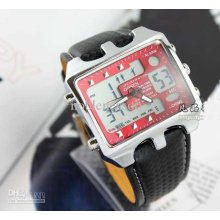 6pcs New Ohsen Day Date Quartz Digital Black Red Mens Band Watch Uni