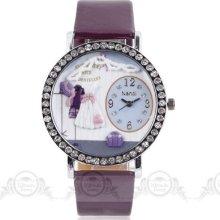 Antique Swarovski Ring Sweet Girl Purple Dress Quartz Crystal Wrist Watch St90