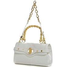 Bodhi White Leather Bamboo Handle Satchel Tote Bag Handbag Convertible Cute