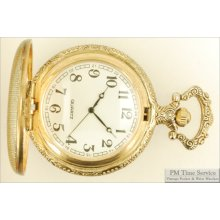 Chinese-made 16S quartz pocket watch, heavy gold-toned fully engraved hunting case, white dial