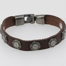 Cowboy Style Leather Wristband Bracelet Bangle Man's Jewelry