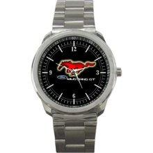 Ford Mustang GT Logo Sport Metal Watch - Stainless Steel