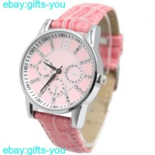 Fw820c Pink Dial Pink Band Round Pnp Shiny Silver Watchcase Unisex Fashion Watch