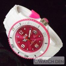 Ice-watch - Unisex White Sili Pink Dial Watch - Si.wp.u.s 12