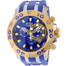 Invicta Men's Two Tone Reserve Diver Chronograph Swiss Quartz Blue Dial Strap 0909