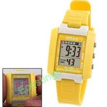 Kids Sports Digital Alarm Wrist Watch Stopwatch Yellow