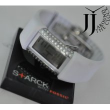 Philippe Starck Hard S+arck Rubber Digital Watch White Rubber Ph1115 Box