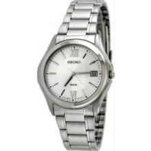 Seiko Sgef25 Mens Stainless Steel Silver Tone Dial Dress Link Bracelet Midsize Watch