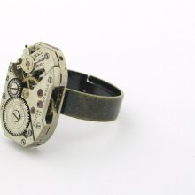 Steampunk Ring Vintage Watch Movement Adjustable Ring Band Captivating Jewelry