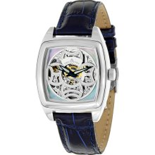 Tremont Mens Skeleton Blue Leather Strap/Mother of Pearl-White Dial Watch - Multi-color - Stainless Steel