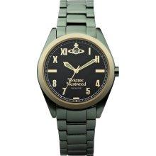 Vivienne Westwood St James Unisex Quartz Watch With Black Dial Analogue Display And Green Bracelet Vv049bkgr