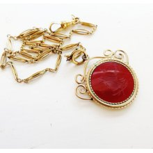 Antique Edwardian Victorian Pocket Watch Chain Necklace Gold Filled Carnelian Intaglio Chatelaine Fob Pendant 1900s Antique Jewelry