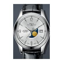 Ball Engineer II Ohio Moonphase 40mm Watch - Silver Dial, Black Crocodile Strap NM2082C-LJ-SL Sale Authentic Tritium
