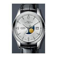 Ball Engineer II Ohio Moonphase 40mm Watch - Silver Dial, Black Crocodile Strap NM2082C-LJ-SL Sale Authentic Tritium