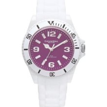 Cannibal Unisex Quartz Watch With Purple Dial Analogue Display And White Silicone Strap Cj209-01B