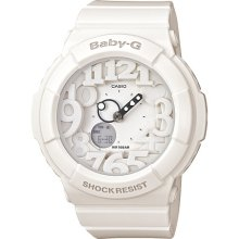 Casio Ladiess White Neon Illuminator Alarm BGA-131-7B Watch