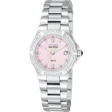 Citizen Ladies' Calendar Date Solar Power Watch w/Round Silvertone Case, Pink Dial and ST Bracelet Band
