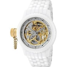 Invicta Womens Russian Diver Mechanical Gold Tone Skeleton Dial Ceramic Watch