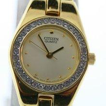 Ladies Citizen Gold Tone Crystal Bezel Gold Dial Bracelet Dress Watch
