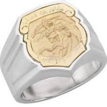 Mens 0.925 Sterling Silver & 14k Yellow Gold Saint St. Michael Badge Police Ring