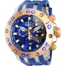 Men's Rose Two Tone Reserve Diver Chronograph Swiss Quartz Blue Strap