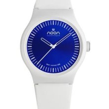 Noon Copenhagen Unisex Analog Plastic Watch - White Rubber Strap - Blue Dial - 105-001S2