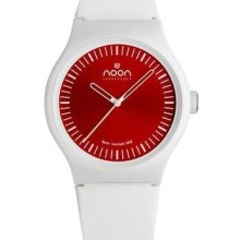 Noon Copenhagen Unisex Analog Plastic Watch - White Rubber Strap - Red Dial - 105-005S2