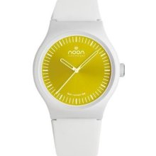 Noon Copenhagen Unisex Analog Plastic Watch - White Rubber Strap - Yellow Dial - 105-004S2