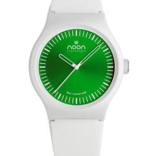 Noon Copenhagen Unisex Analog Plastic Watch - White Rubber Strap - Green Dial - 105-003S2