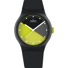 Noon Copenhagen Unisex Classic 33 Analog Plastic Watch - Black Rubber Strap - Yellow Dial - 33-062
