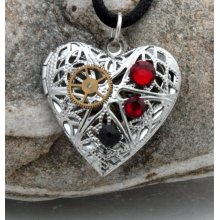 Steampunk locket silver plated filigree heart with red and black Swarovski crystals and vintage watch parts- Unique