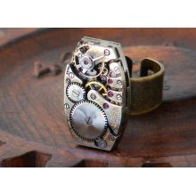 Steampunk Ring - Vintage Bulova Watch Movement - Adjustable Ring for the Steampunk Man