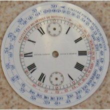Ulysse Nardin Chronograph Vintage Pocket Watch Enamel Dial 47 Mm. In Diameter