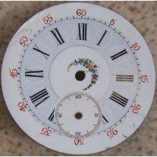 Vintage Two Tones & Painted Pocket Watch Enamel Dial 40 Mm. In Diameter