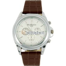 Womage 9285 Second hand Separate Design Leather Band Men's Electronic Quartz Wrist Watch