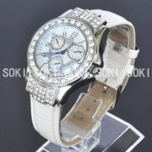 Womens Silver Crystal White Dial Analog Quartz Ladies Leather Band Watch W11