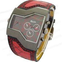 2012 Men Boy Wrist Watch Leather Band Unique Design Digital Red Watch