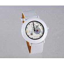 ASTINA 687 Women's Handcart Design Round White-Tone Case White Leather Strap Analog Watch with Diamonds