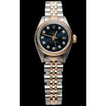 Black diamond dial lady watch SS & pink gold jubilee datejust very fine
