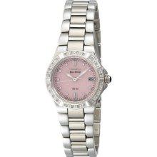 Citizen Eco Drive Riva Pink Dial Diamond Bezel Ladies Watch EW0890-58X