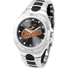 Game Time Watch, Mens Baltimore Orioles Black Rubber and Stainless Ste