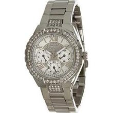 Guess Silver Tone Shimmer Dial Ladies Watch U0111l1 Fast Shipping