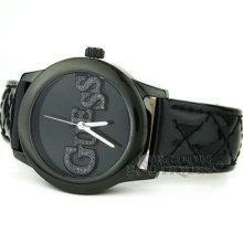 Guess Watch Ladies Quilty Black Leather Crystals Logo U96004l3 Montre