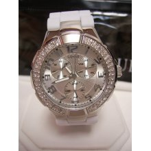 Guess Womens White Silicone Crystal Glitz Subdial WATCH G10583L $105