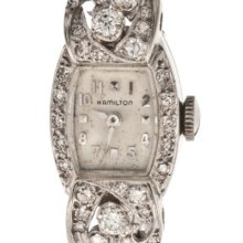 Ladies Solid 14k White Gold 2.50ct. Diamond Hamilton Watch W/ Diamond Band