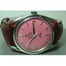 Mens Vintage Titoni Airmaster 25jewels Rotomatic Date Swiss Watch F681 Pink Dial