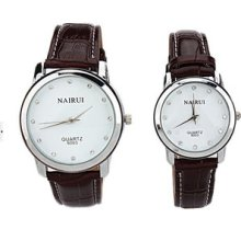 Nary Fashionable Brown Faux Leather Band Couple Watch Quartz White Dial Watch