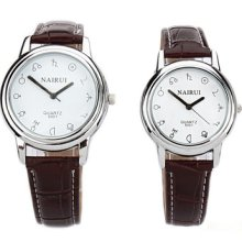Nary Faux Leather Band Quartz Couple Watch Constellation Series White Dial