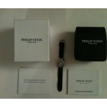 Philip Stein Teslar Watch Women's Double Dial White Face Black Leather Band Auth