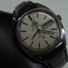 Rare 60's Omega Constellation Silver Dial 14k White Gold Bezel Cal:751 Man's